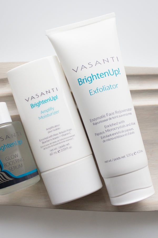 Vasanti Brighten Up! Exfoliator and Vasanti Brighten Up! Amplify Moisturizer - Lifestyle Shot