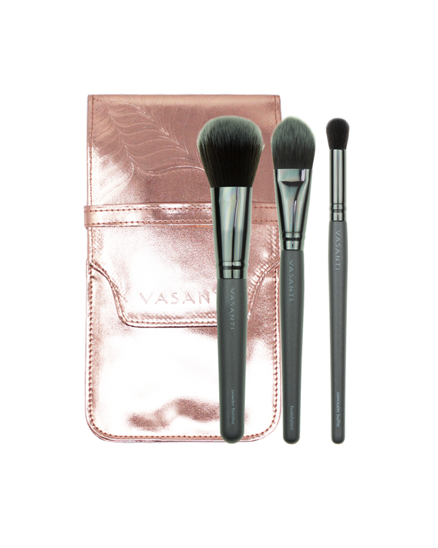 Vasanti Flawless Complexion Brush Set with bag - Front Shot