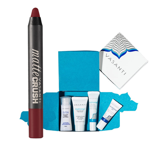 Vasanti 4-Step Skincare Travel Kit and Vasanti Matte CrushLipstick Pencil - Front Shot