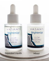 Side by side comparison between mixed and separated liquids of Vasanti Brighten Up! Glow Boosting Serum