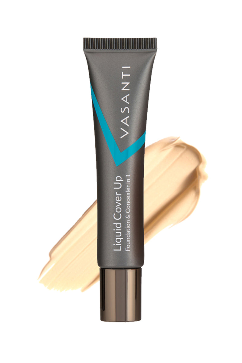 Vasanti Liquid Cover Up Foundation and Concealer in 1 - Shade V2 - Front shot with swatch on white background