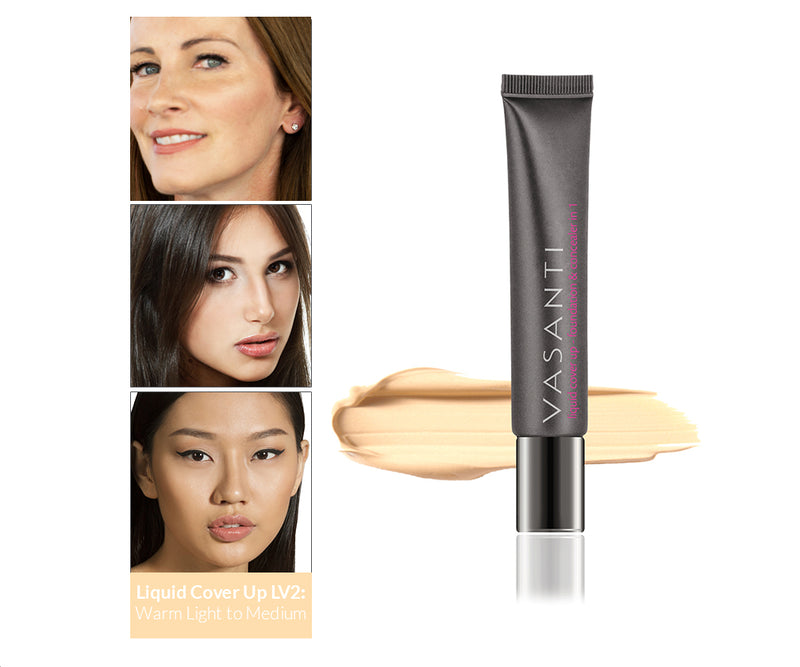 Vasanti Cover Up Foundation and Concealer in 1 - Shade LV2, front shot with swatch and skin complexion