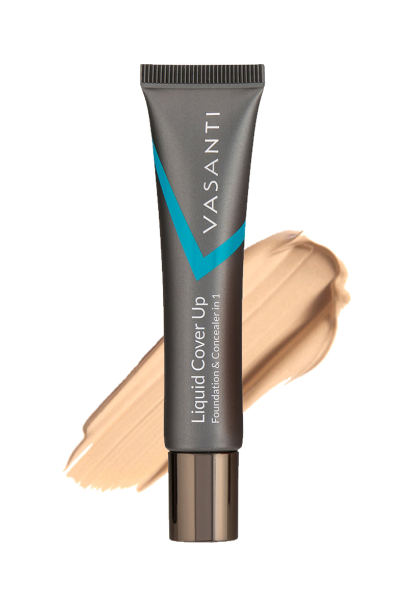 Vasanti Liquid Cover Up Foundation and Concealer in 1 - Front Shot with swatch on white background