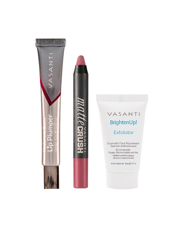 Matte Crush + Hyaluronic Boost Lip Plumper + 20g Brighten Up! Exfoliator
