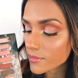A woman's selfie showing Vasanti Kajal X Kolors Eyeshadow Palette