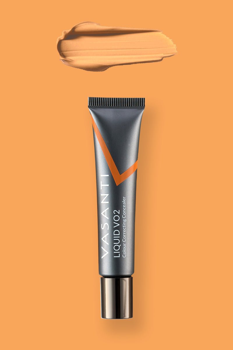 Vasanti Liquid VO2 Colour Correcting Concealer - Front shot with swatch