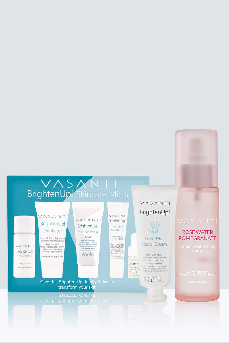 Vasanti Brighten Up! Skincare Minis, Vasanti Brighten Up! Love My Hand Cream, and Vasanti Rosewater and Pomegranate Toner + Refreshing Spray - Front Shot