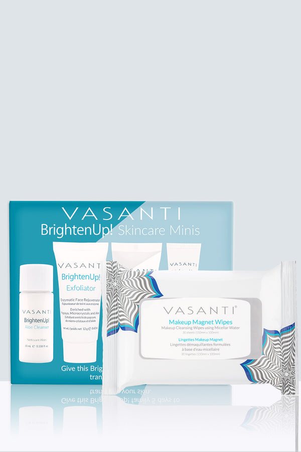 Vasanti Brighten Up! Skincare Minis and Vasanti Makeup Magnet Wipes - Front Shot