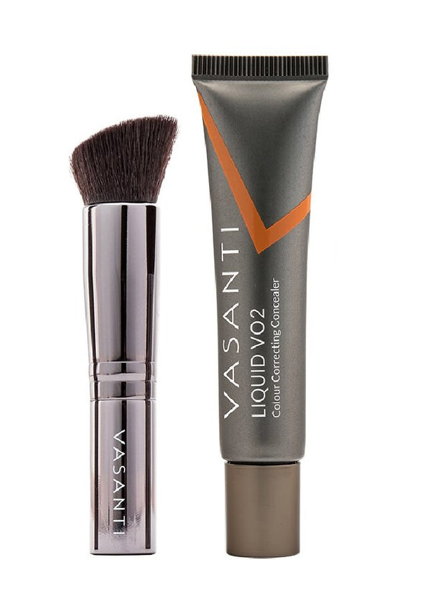 Vasanti Liquid VO2 Dark Circle Eraser and Vasanti VO2 Flat Angled Foundation Stubby Brush - Front Shot