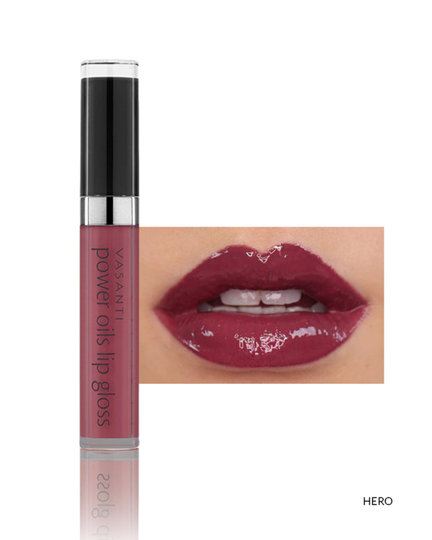 Vasanti Power Oils Lip Gloss - Shade Hero on lips and product front shot