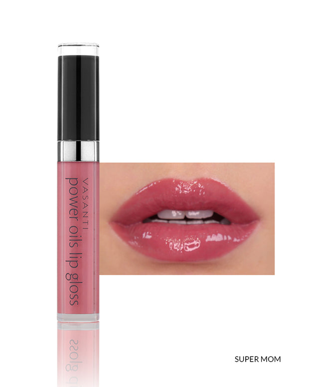 Vasanti Power Oils Lip Gloss - Shade Super Mom on lips and product front shot