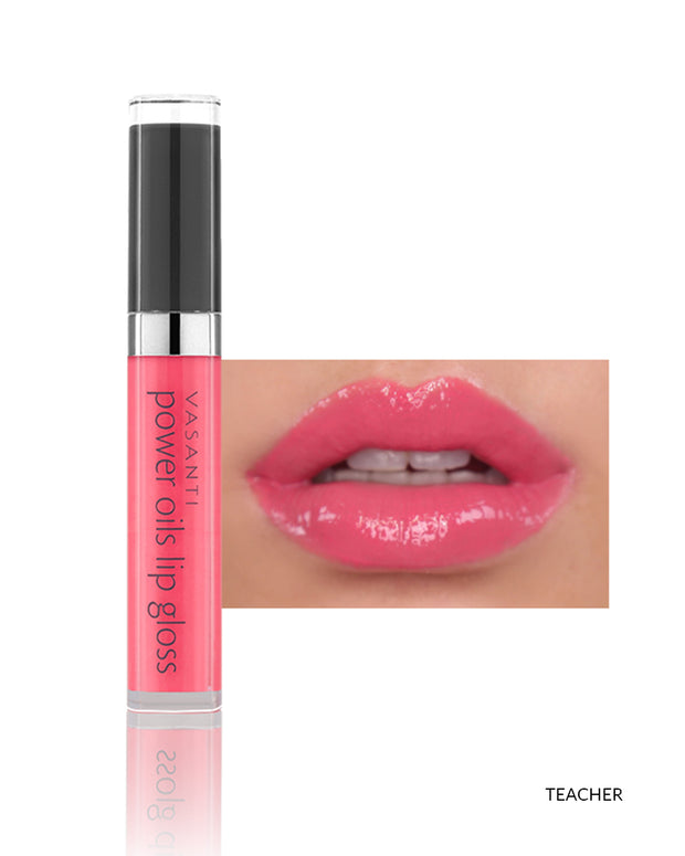 Vasanti Power Oils Lip Gloss - Shade Teacher on lips and product front shot