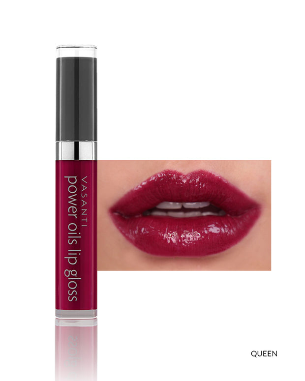 Vasanti Power Oils Lip Gloss - Shade Queen on lips and product front shot