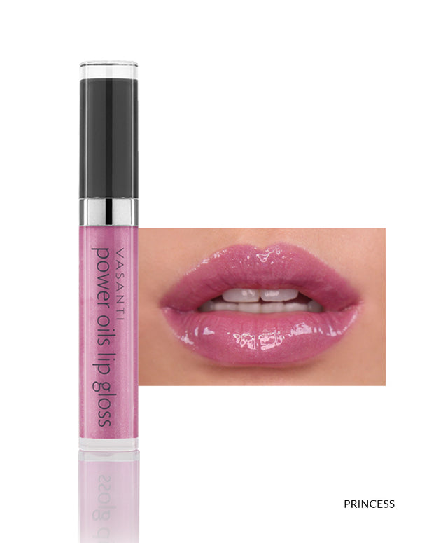 Vasanti Power Oils Lip Gloss - Shade Princess on lips and product front shot