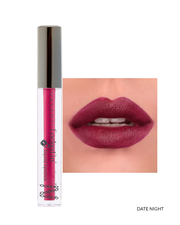 Vasanti Locked in Liquid Lipstick - Shade Date Night on lips and product front shot