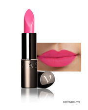 Vasanti Love Brights Gel Matte Lipstick - Shade Destined Love on lips with product front shot