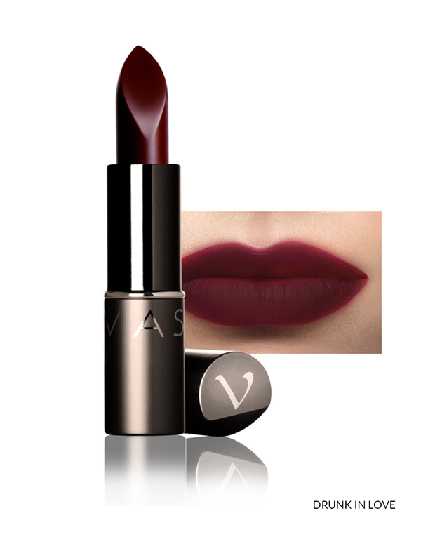 Vasanti Love Brights Gel Matte Lipstick - Shade Drunk In Love on lips with product front shot