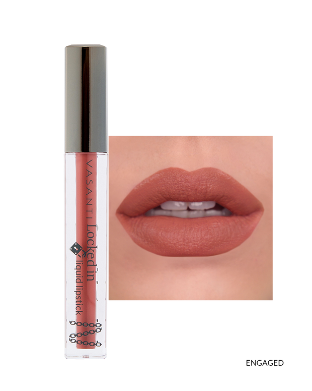 Vasanti Locked in Liquid Lipstick - Shade Engaged on lips and product front shot