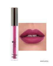 Vasanti Locked in Liquid Lipstick - Shade Infatuated on lips and product front shot