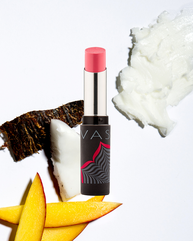Vasanti Best Balm Forever (BBF) Tinted Lip Balm - Front shot with ingredients; shea butter, coconut and mango at the back