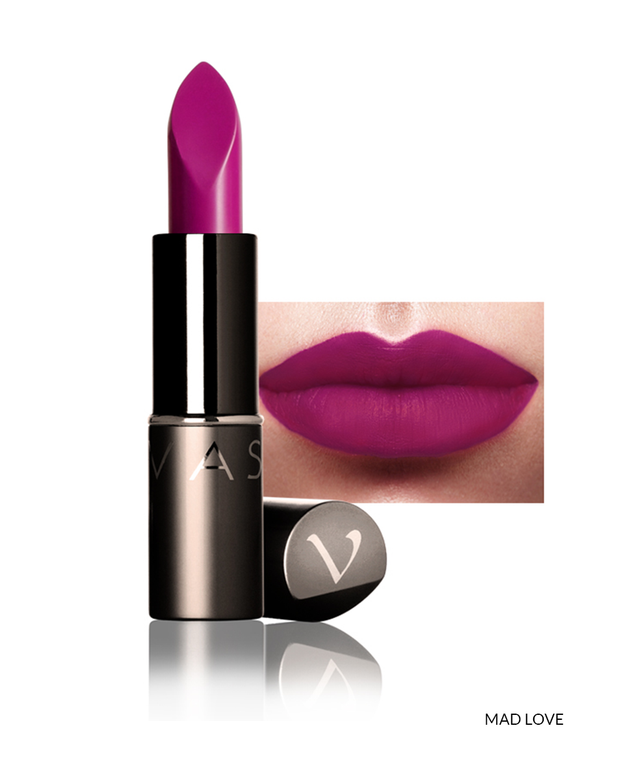 Vasanti Love Brights Gel Matte Lipstick - Shade Mad Love on lips with product front shot
