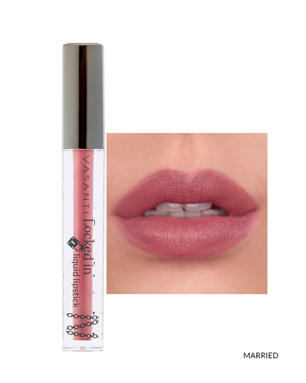 Vasanti Locked in Liquid Lipstick - Shade Married on lips and product front shot