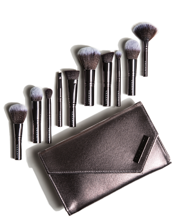 Vasanti Stubby Brush Set with bag - Front Shot
