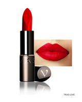 Vasanti Love Brights Gel Matte Lipstick - Shade True Love with lip swatch and product front shot