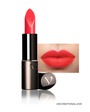 Vasanti Love Brights Gel Matte Lipstick - Shade Unconditional Love on lips with product front shot