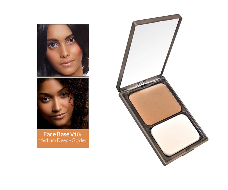 Vasanti Face Base Powder Foundation - Shade V10 Medium Deep Golden - Front shot with swatch