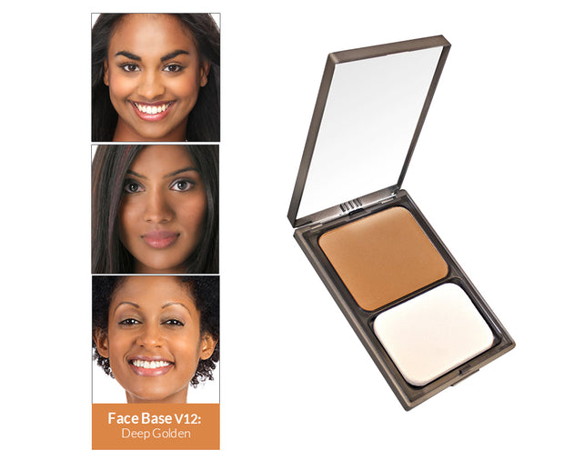Vasanti Face Base Powder Foundation - Shade V12 Deep Golden - Product shot and skin complexion