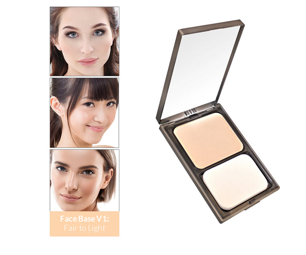 Vasanti Face Base Powder Foundation - Shade V1 Fair to Light - Product shot and skin complexion