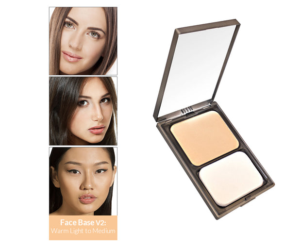 Vasanti Face Base Powder Foundation - Shade V2 Warm Light to Medium - Product shot and skin complexion