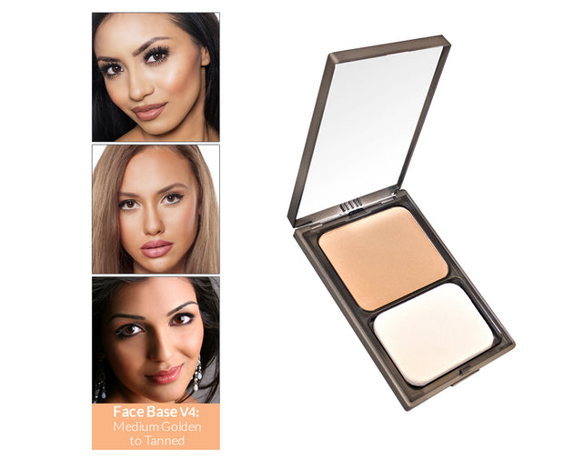 Vasanti Face Base Powder Foundation - Shade V4 Medium Golden to Tanned - Product shot and skin complexion