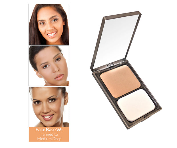 Vasanti Face Base Powder Foundation - Shade V6 Tanned To Medium Deep - Product shot and skin complexion