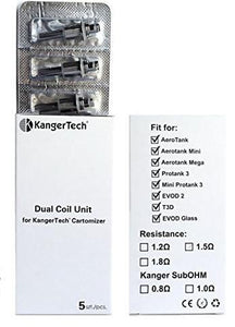 5-pack of Kanger Upgrade Replacement Dual Coils