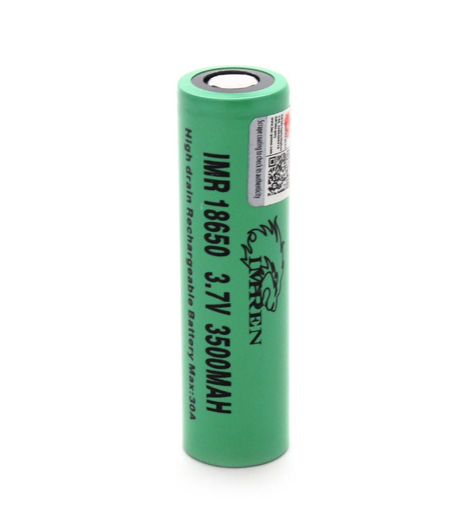 Green Imren IMR 18650 (3500mAh) 30A 3.7v Battery Flat-Top