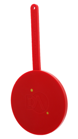 Red polymer target showing hits in a different color