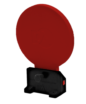 Red polymer knockdown target with self-healing color flare
