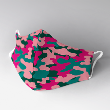 Camo pink-green face mask