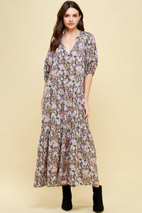 Pinch - 3/4 Sleeve Floral Maxi Dress