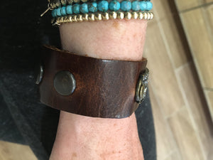 Leather Bracelet with Quad Stone Cuff