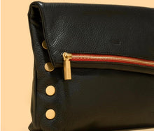 Load image into Gallery viewer, Hammitt VIP - Medium, Black Leather, Gold Rivets, Red Zipper