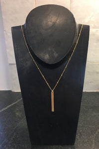 "18k Gold Plated Bar on 24"" Out of Orbit Gold Fill Necklace"