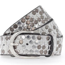 Load image into Gallery viewer, B. Belt Mixes Rivets & Silver Buckle Off White