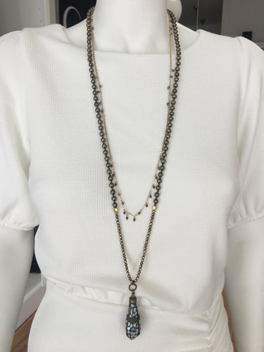 Isabel INY - Pyrite Necklace with Tibetan M.O.P Charm