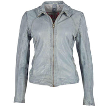 Load image into Gallery viewer, Light Blue Moto Leather Jacket