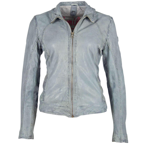 Light Blue Moto Leather Jacket