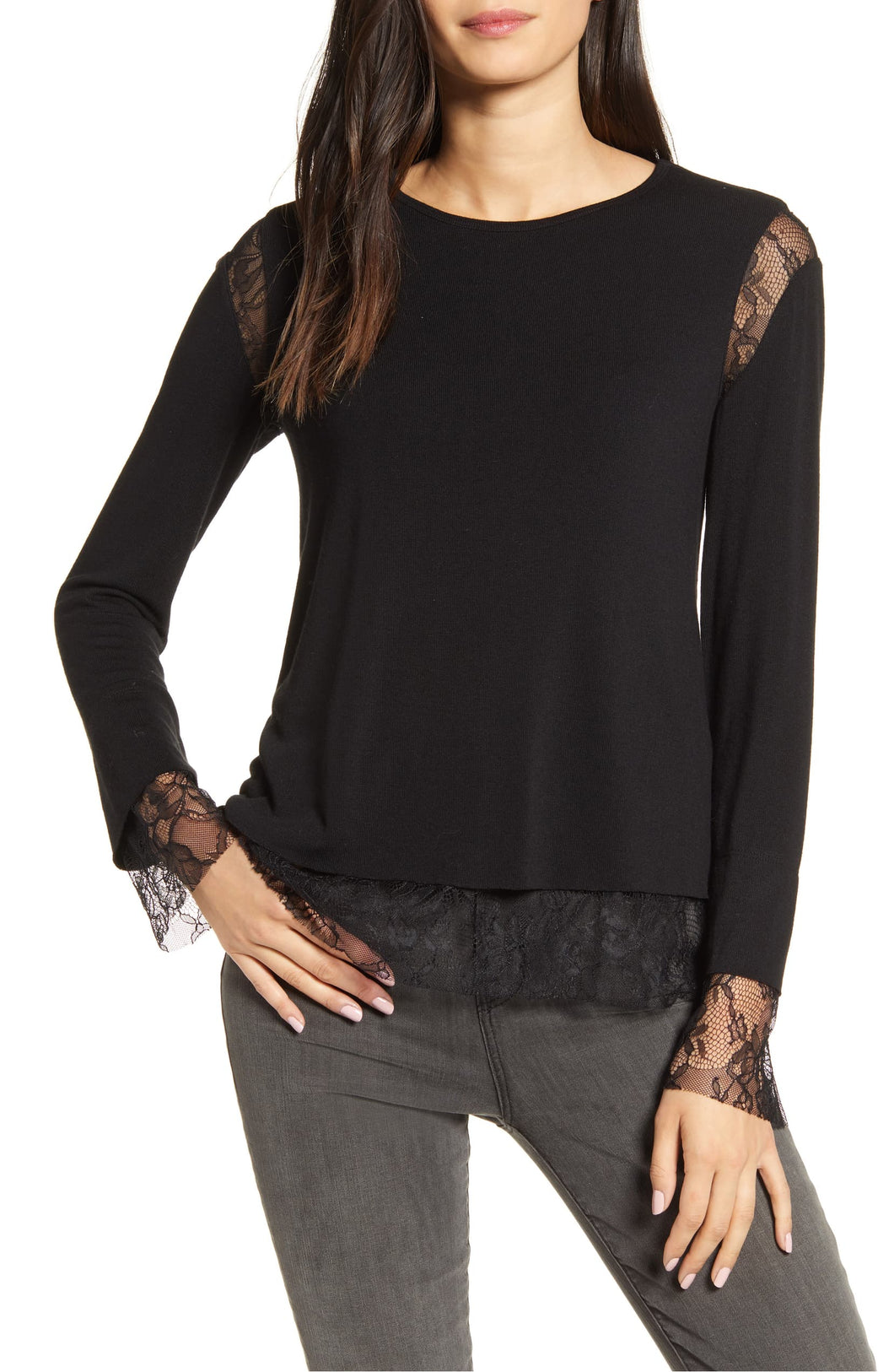 Bailey44 Isabel Lace Trim Top - Black