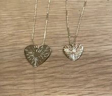 Load image into Gallery viewer, Paradigm Design Sunburst Etched Large Heart Necklace W Link Chain